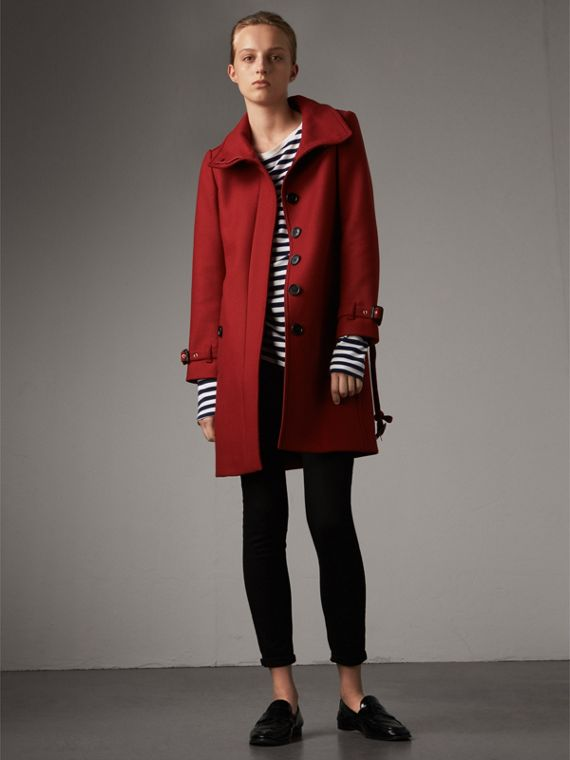 Technical Wool Cashmere Funnel Neck Coat in Damson Red