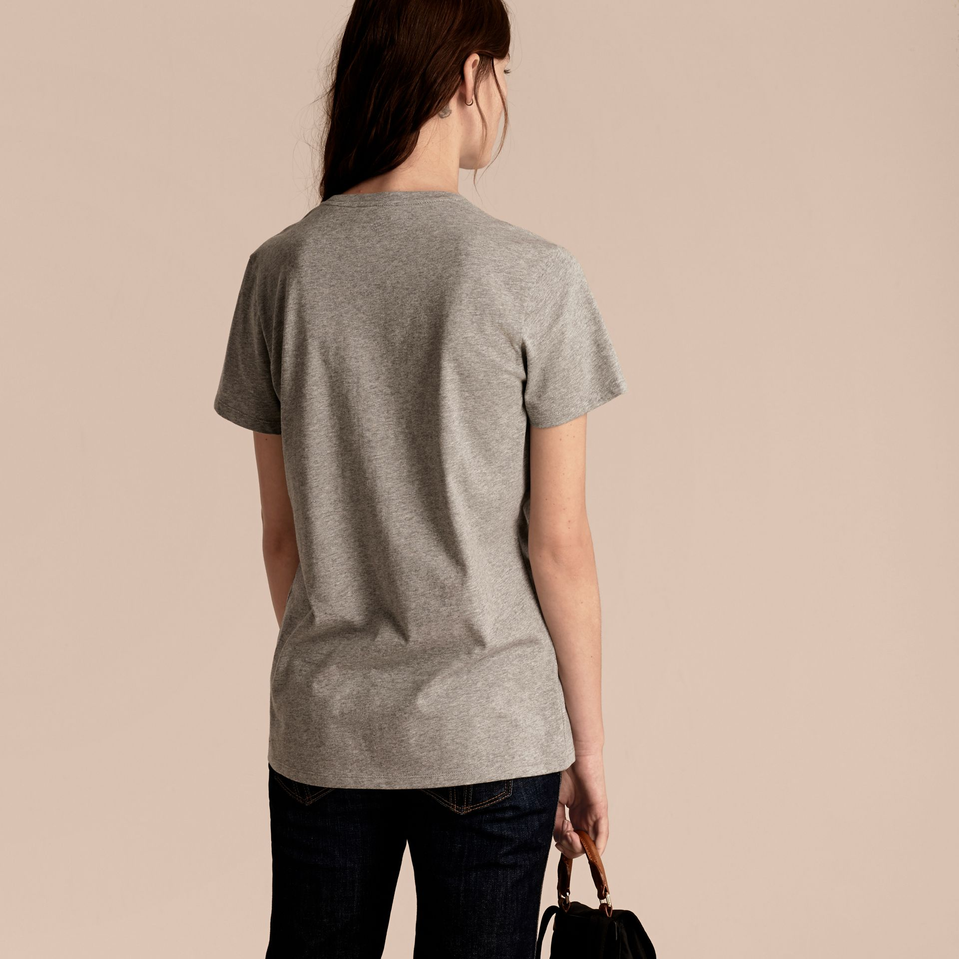 Pale grey melange Sequin Floral Appliqué Cotton T-Shirt Pale Grey Melange - gallery image 3
