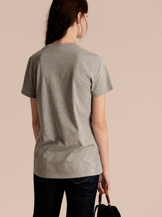 Pale grey melange Sequin Floral Appliqué Cotton T-Shirt Pale Grey Melange - cell image 2