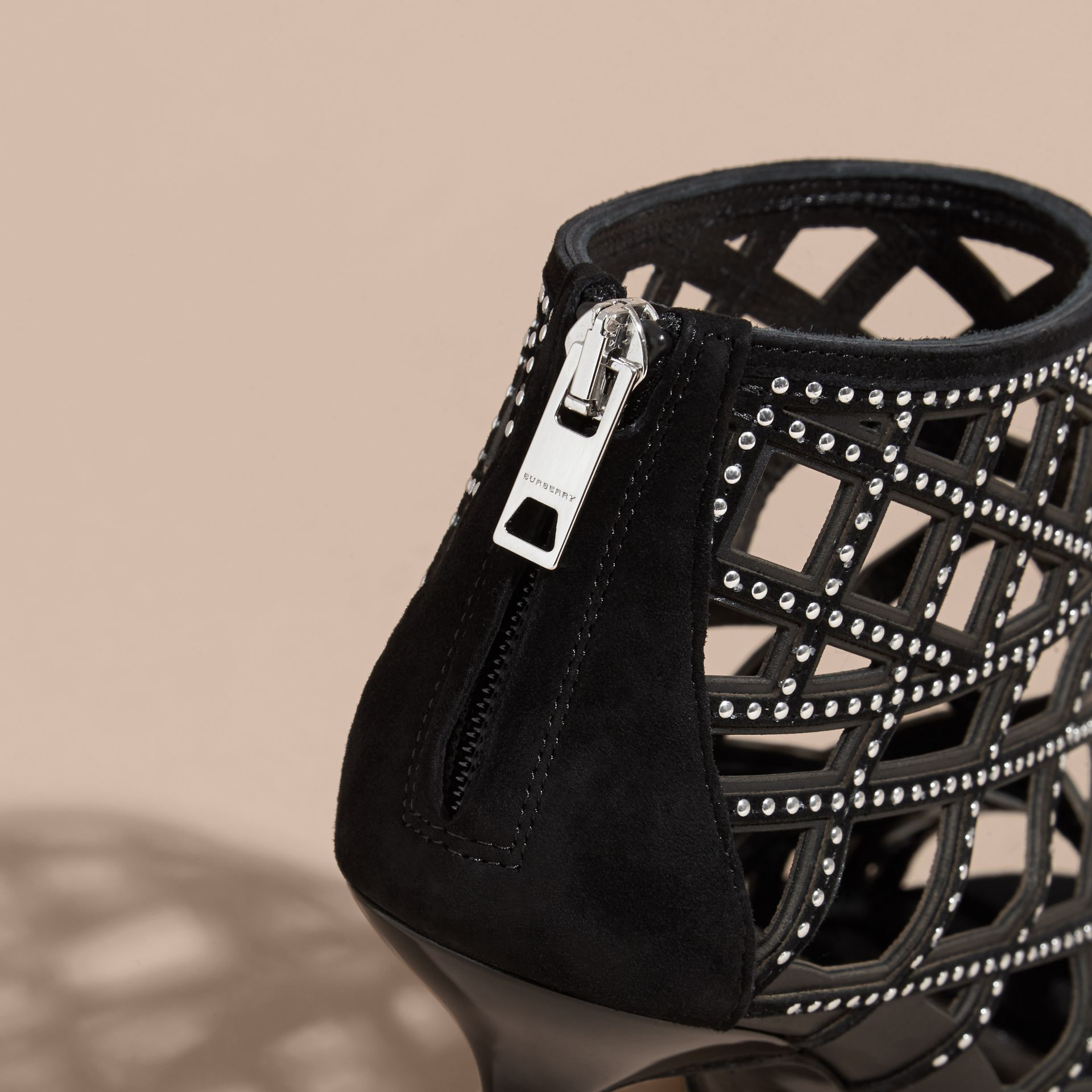 Black Studded Cut-out Leather Peep-toe Ankle Boots - gallery image 5