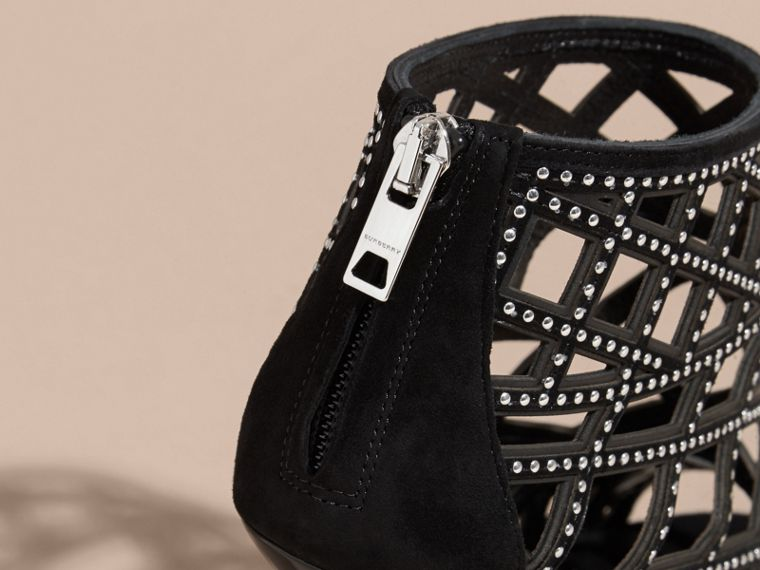Black Studded Cut-out Leather Peep-toe Ankle Boots - cell image 4