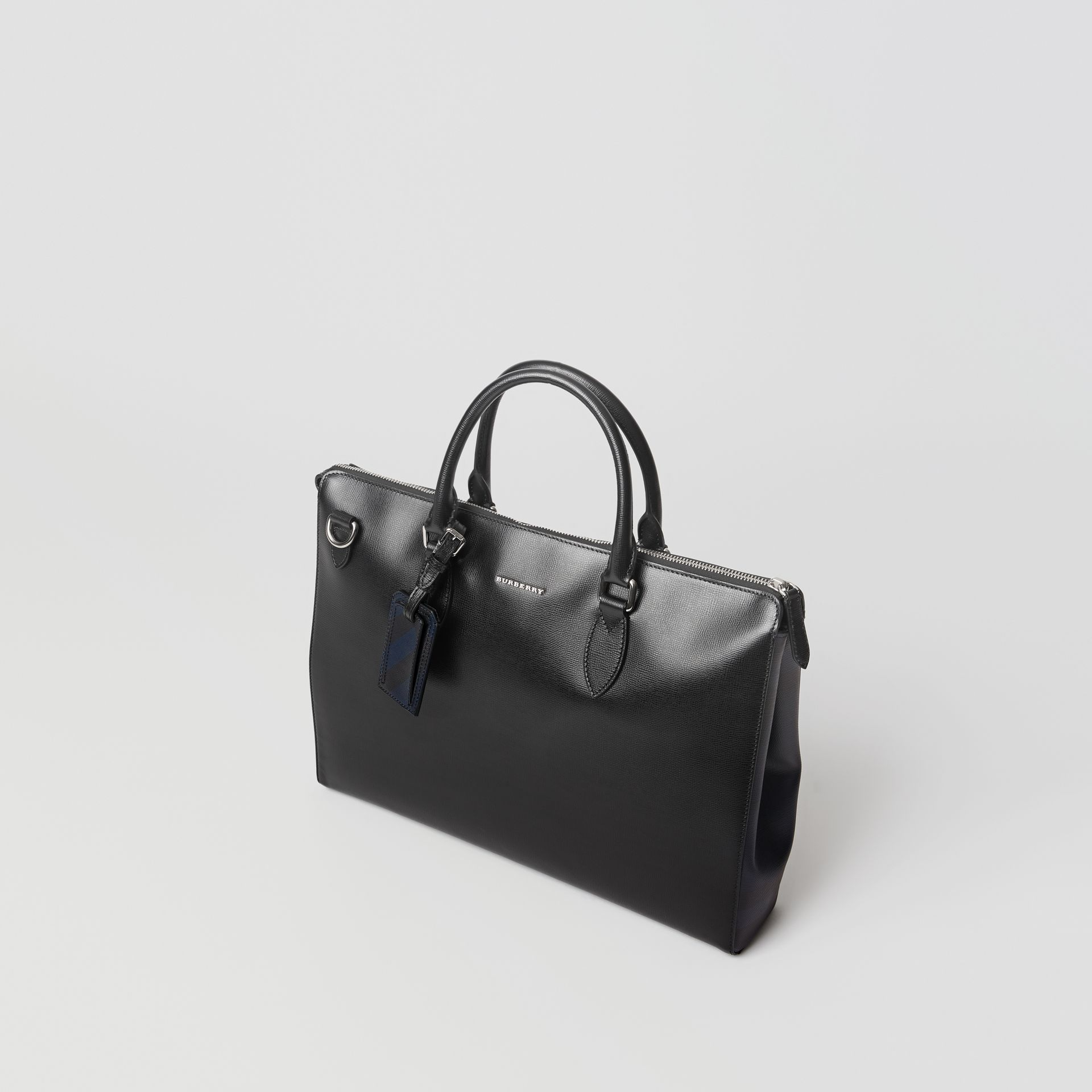 Large London Leather Briefcase in Black - Men | Burberry - gallery image 4