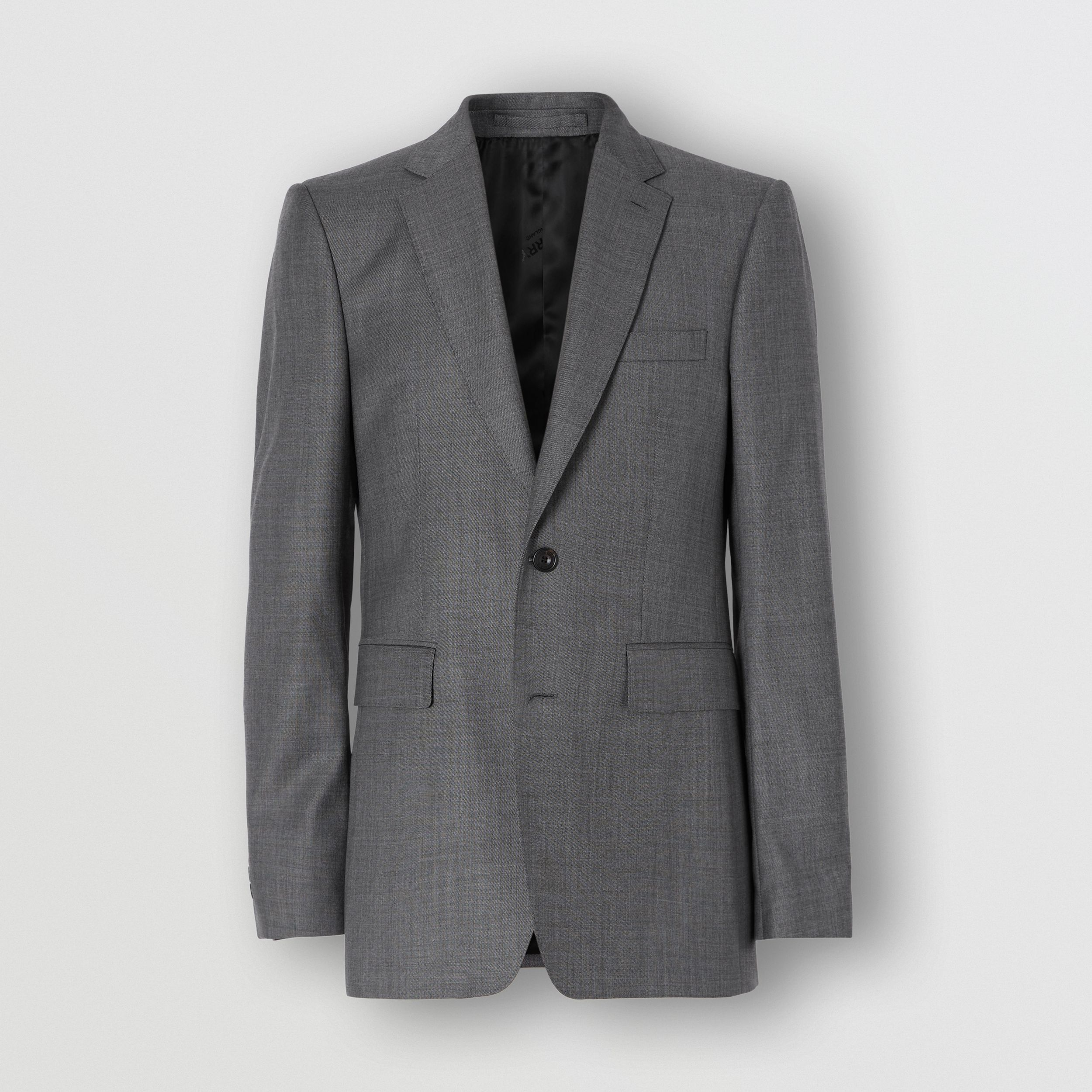 Classic Fit Sharkskin Wool Suit in Mid Grey Melange - Men | Burberry - 4