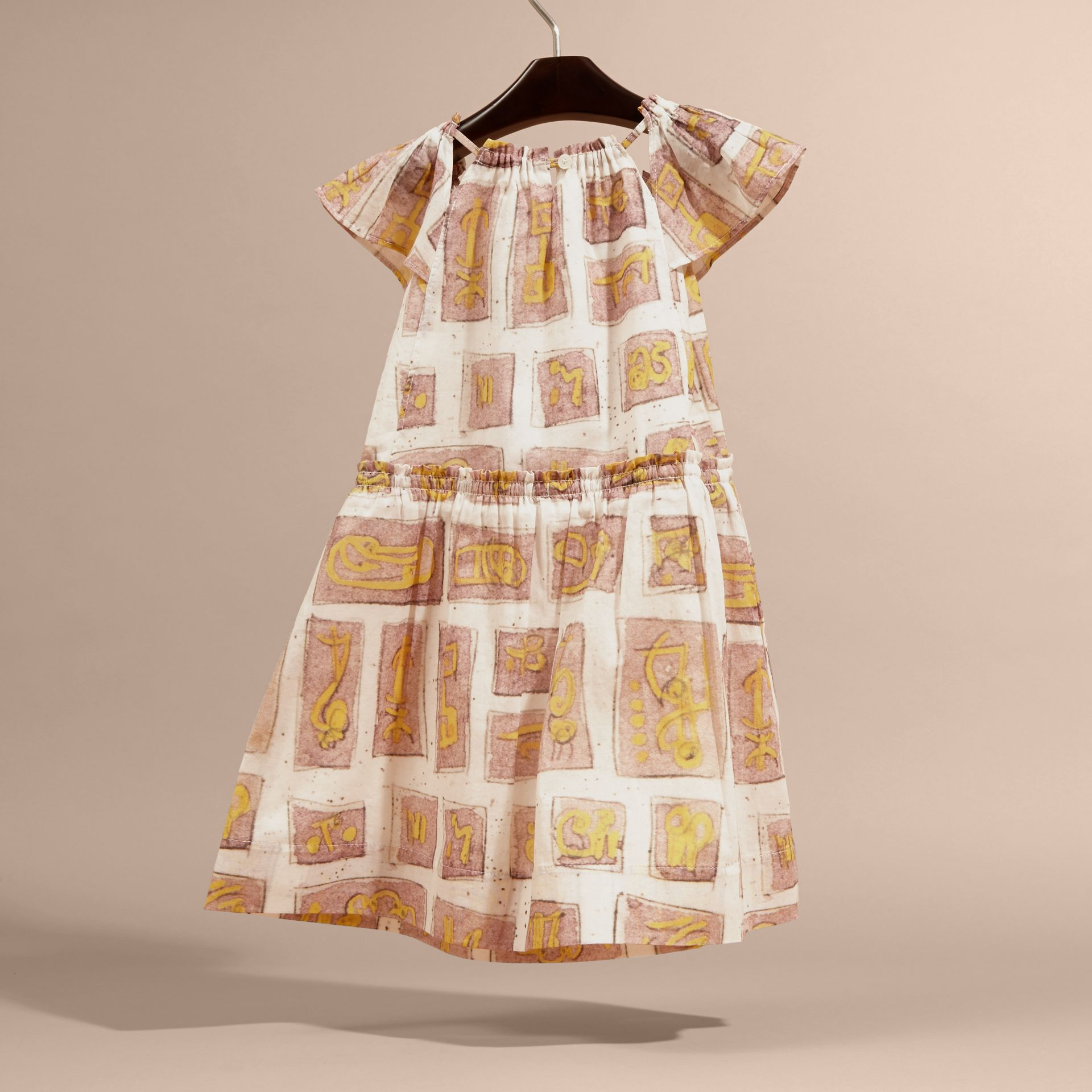 Framed Motifs Print Cotton Dress in Pale Ash Rose | Burberry - gallery image 4