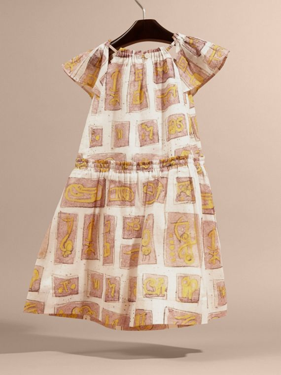 Framed Motifs Print Cotton Dress in Pale Ash Rose | Burberry - cell image 3