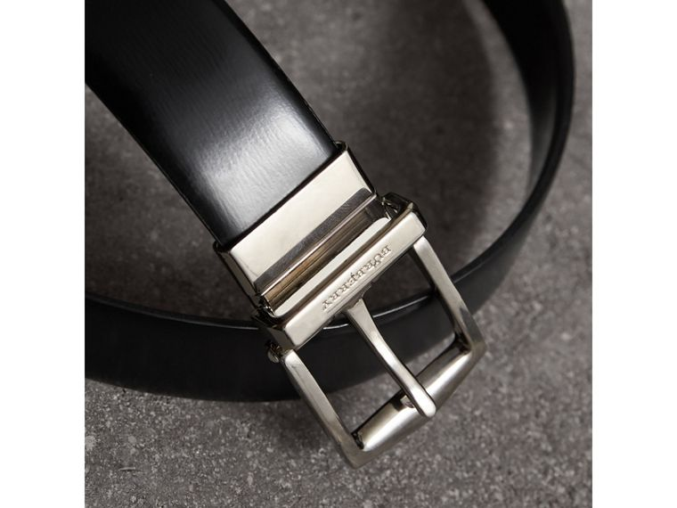 Reversible Bridle Leather Belt in Black/chocolate - Men | Burberry United Kingdom - cell image 1