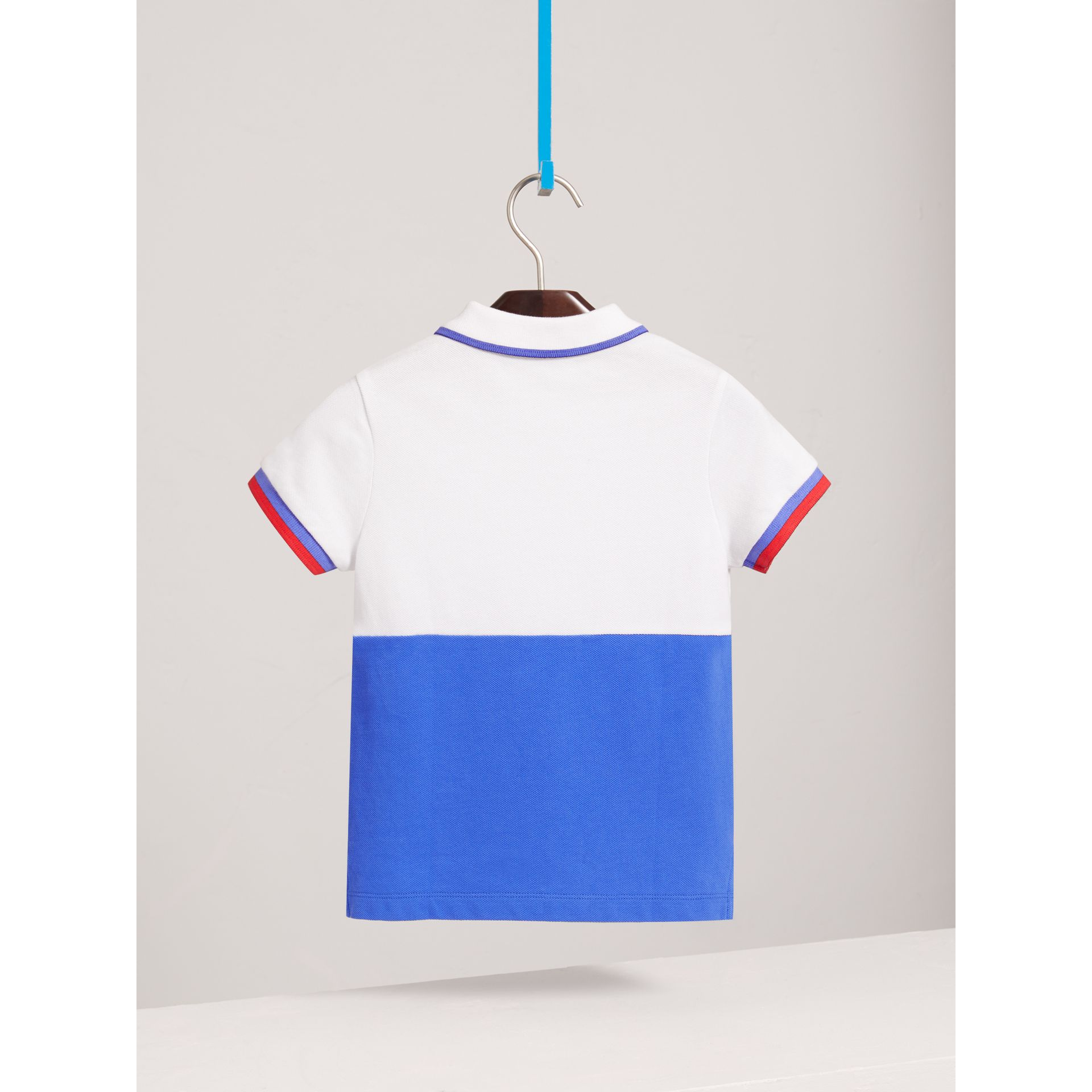 Embroidered Two-tone Cotton Piqué Polo Shirt in Cobalt Blue - Boy | Burberry United Kingdom - gallery image 3