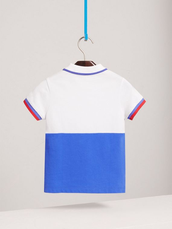 Embroidered Two-tone Cotton Piqué Polo Shirt in Cobalt Blue - Boy | Burberry United Kingdom - cell image 3