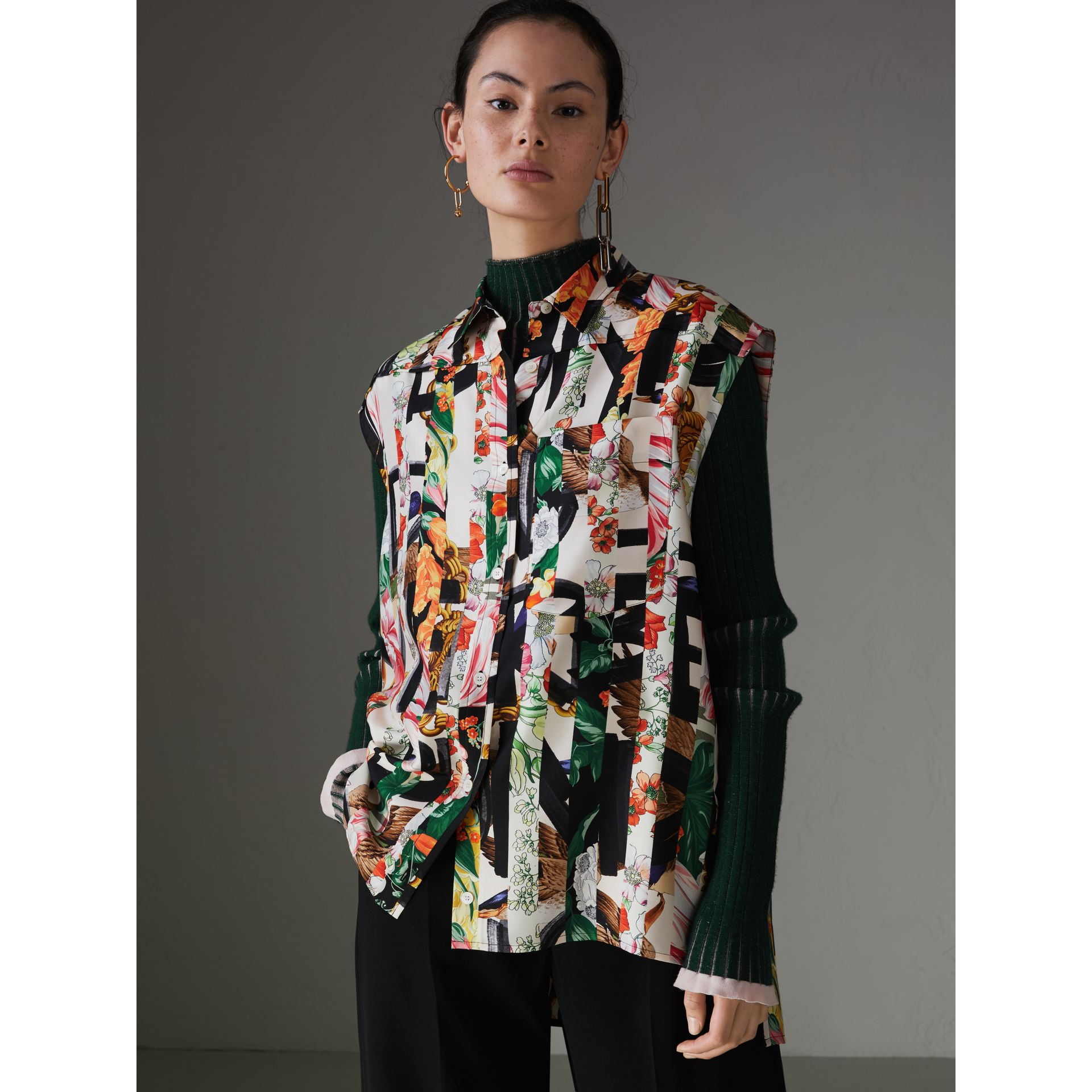 Archive Scarf Print Silk Sleeveless Shirt in Multicolour - Women | Burberry United Kingdom - gallery image 4