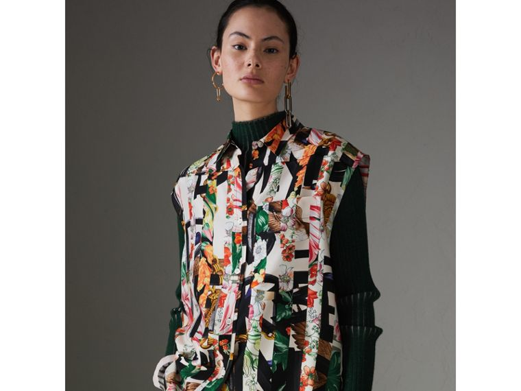 Archive Scarf Print Silk Sleeveless Shirt in Multicolour - Women | Burberry - cell image 4