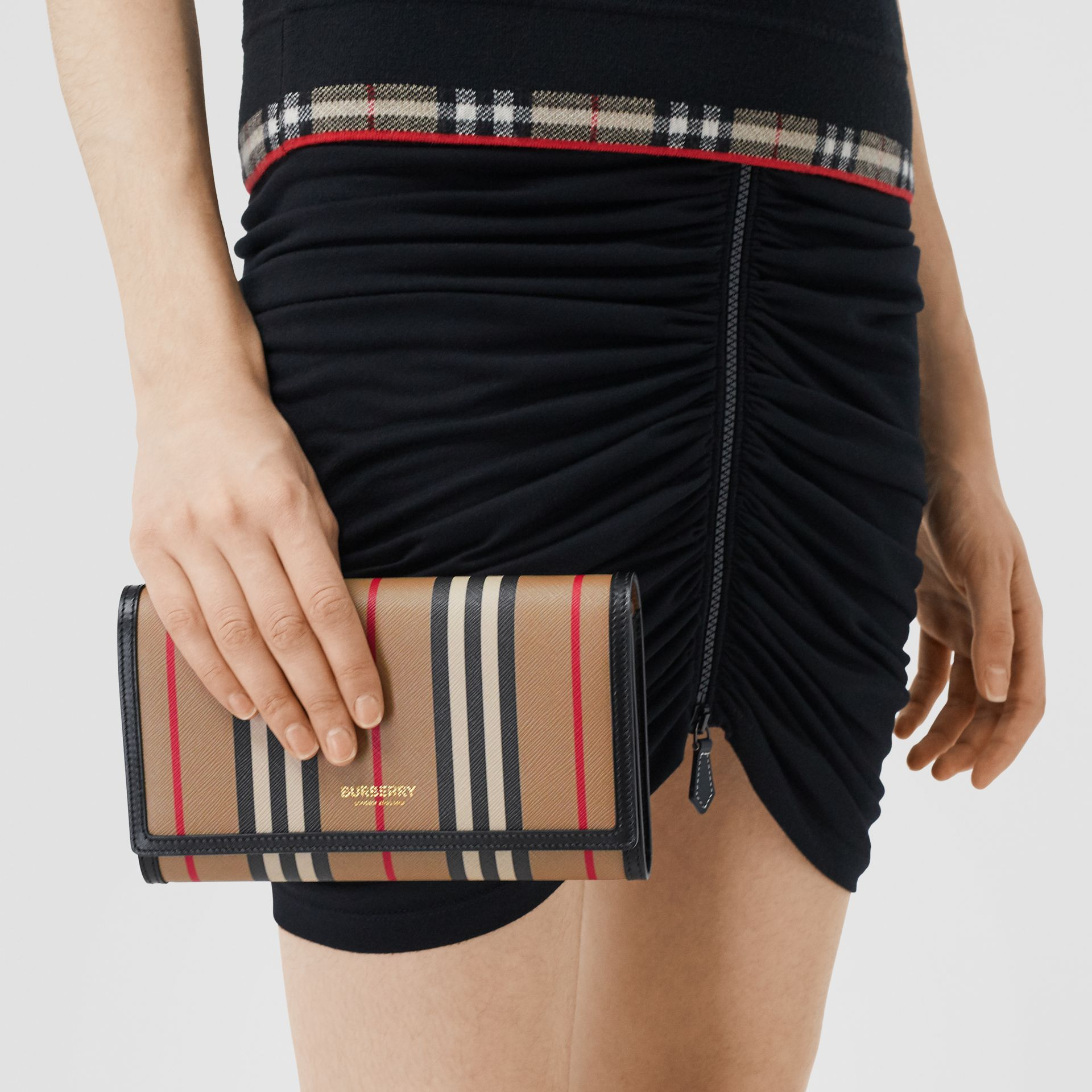 Icon Stripe E-canvas Wallet with Detachable Strap in Archive Beige - Women | Burberry - gallery image 8
