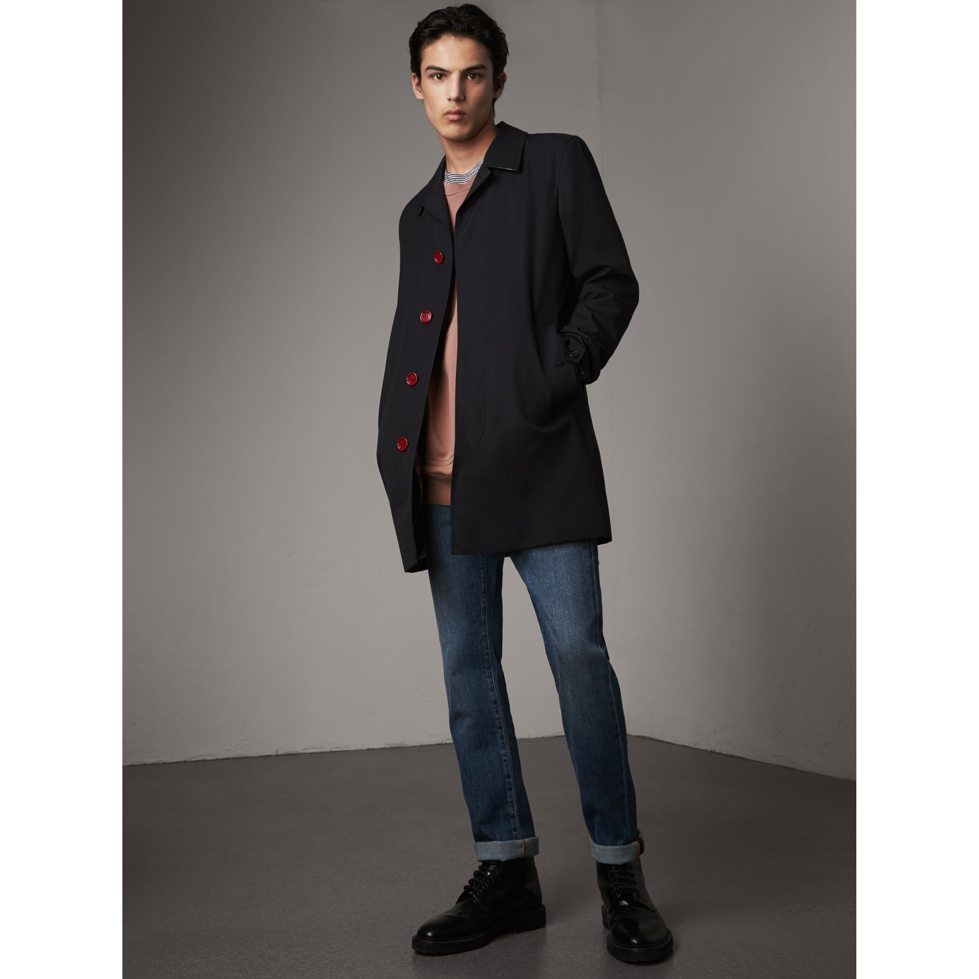 Resin Button Cotton Gabardine Car Coat in Navy - Men | Burberry - gallery image 1