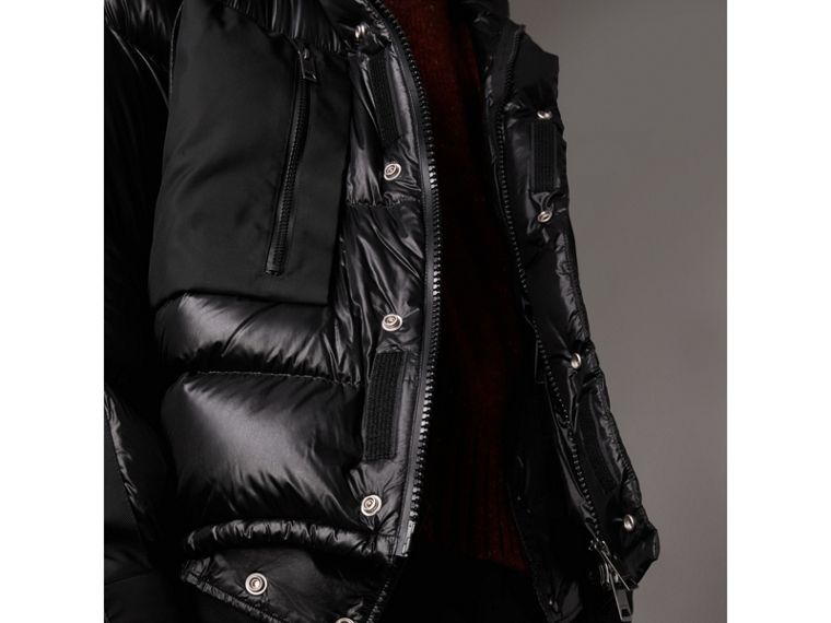 Oversized Down-filled Hooded Puffer Jacket in Black - Men | Burberry - cell image 4