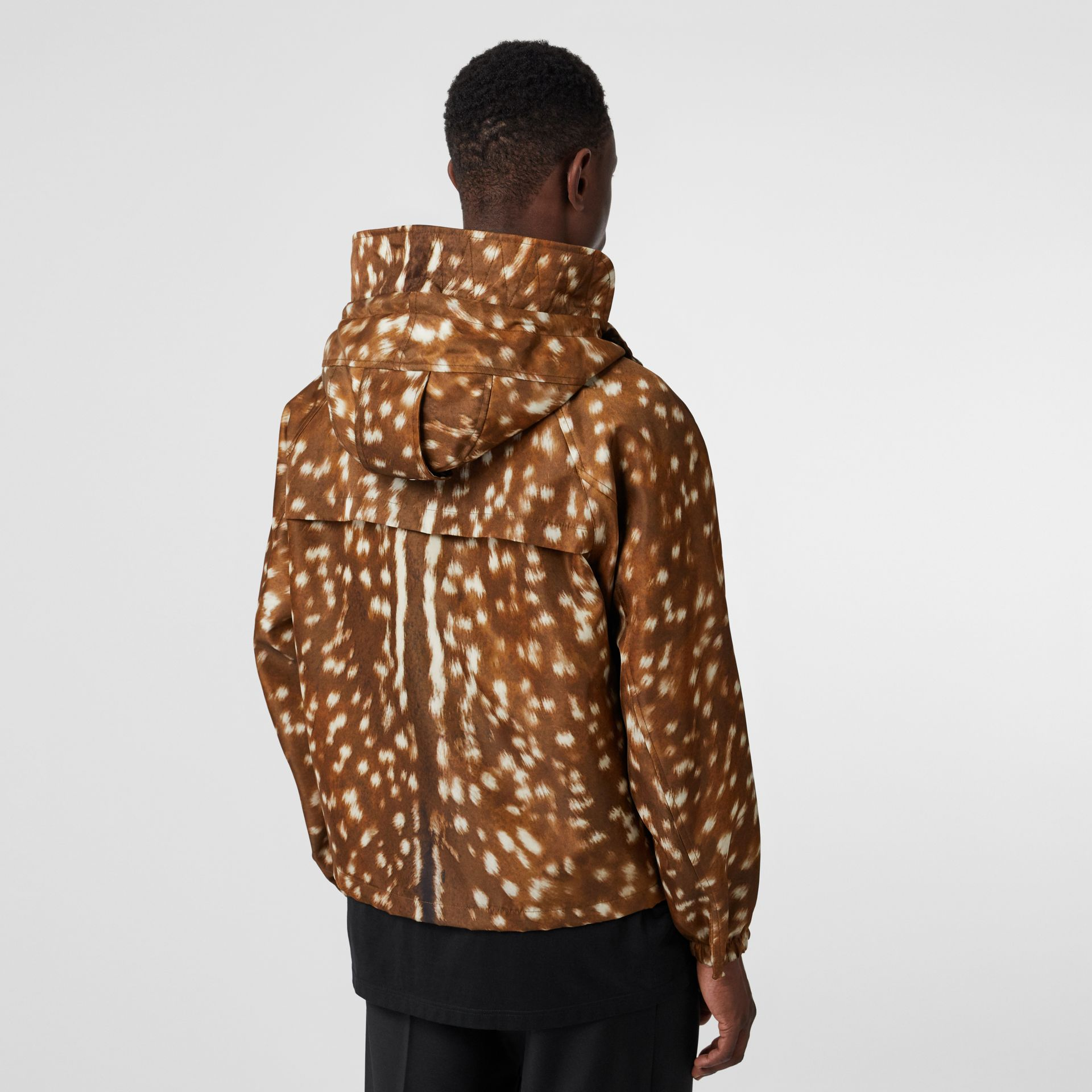 Deer Print Nylon Hooded Jacket in Honey - Men | Burberry - gallery image 2