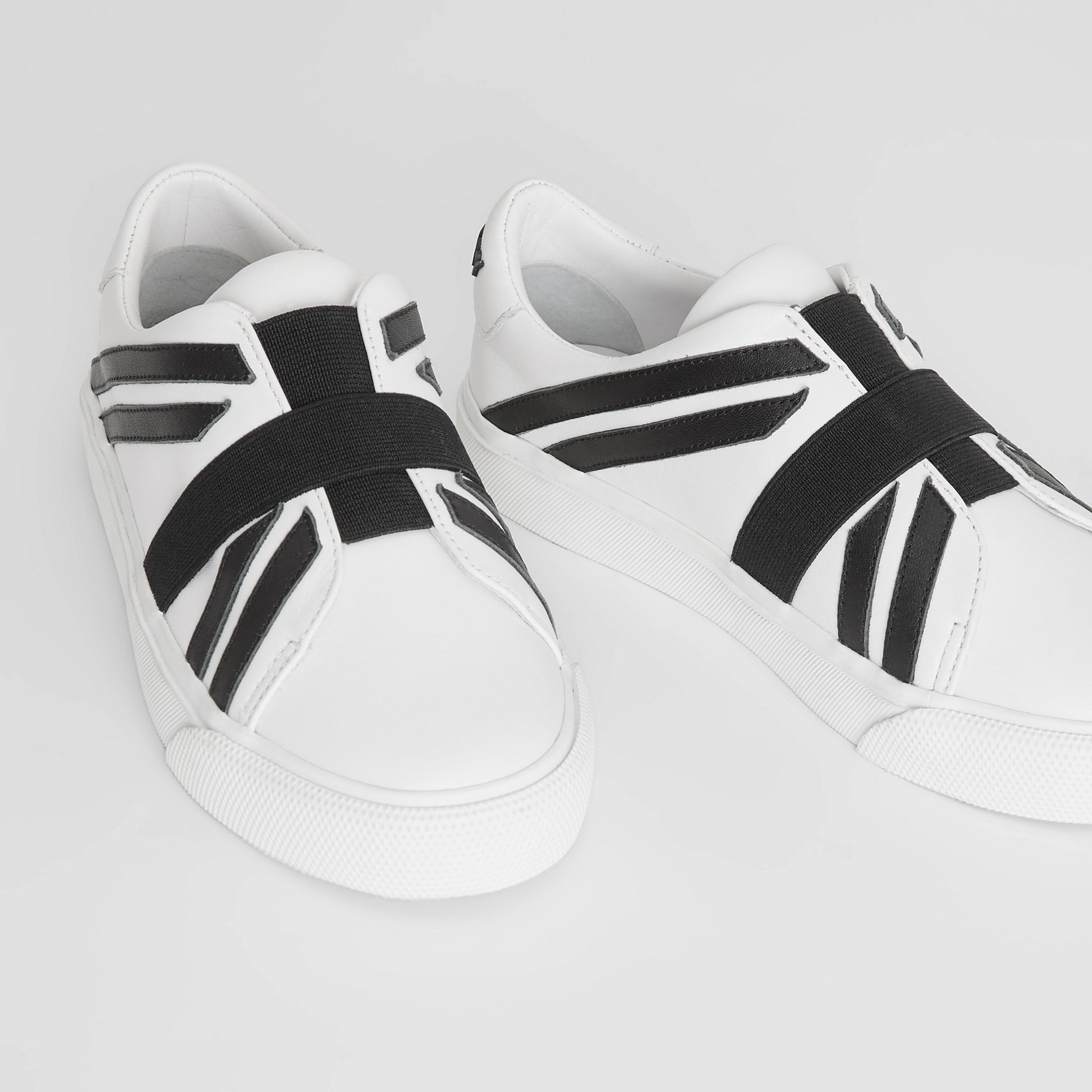 Union Jack Motif Slip-on Sneakers in Optic White/black - Children | Burberry Australia - gallery image 1