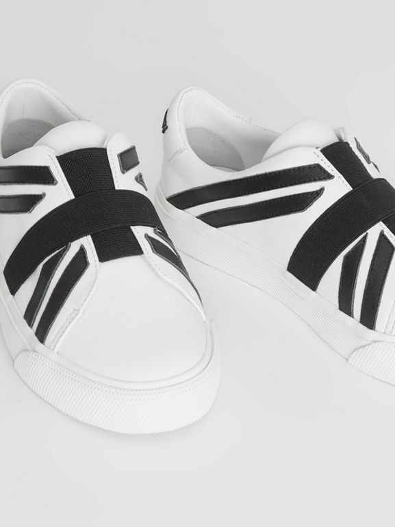 Union Jack Motif Slip-on Sneakers in Optic White/black - Children | Burberry - cell image 1