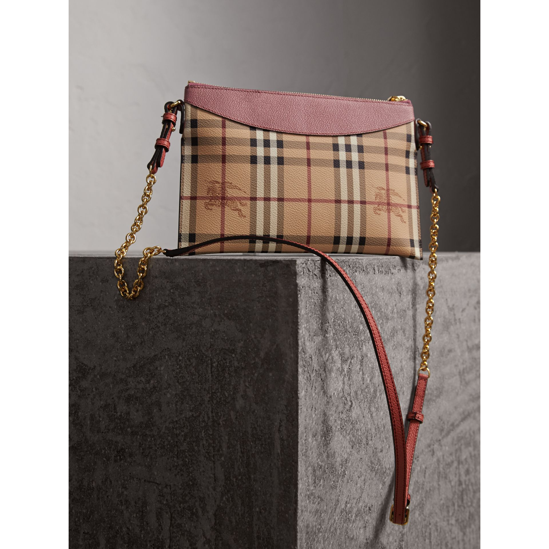 Haymarket Check and Two-tone Leather Clutch Bag in Dusty Pink/multicolour - Women | Burberry - gallery image 5