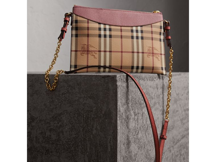 Haymarket Check and Two-tone Leather Clutch Bag in Dusty Pink/multicolour - Women | Burberry - cell image 4