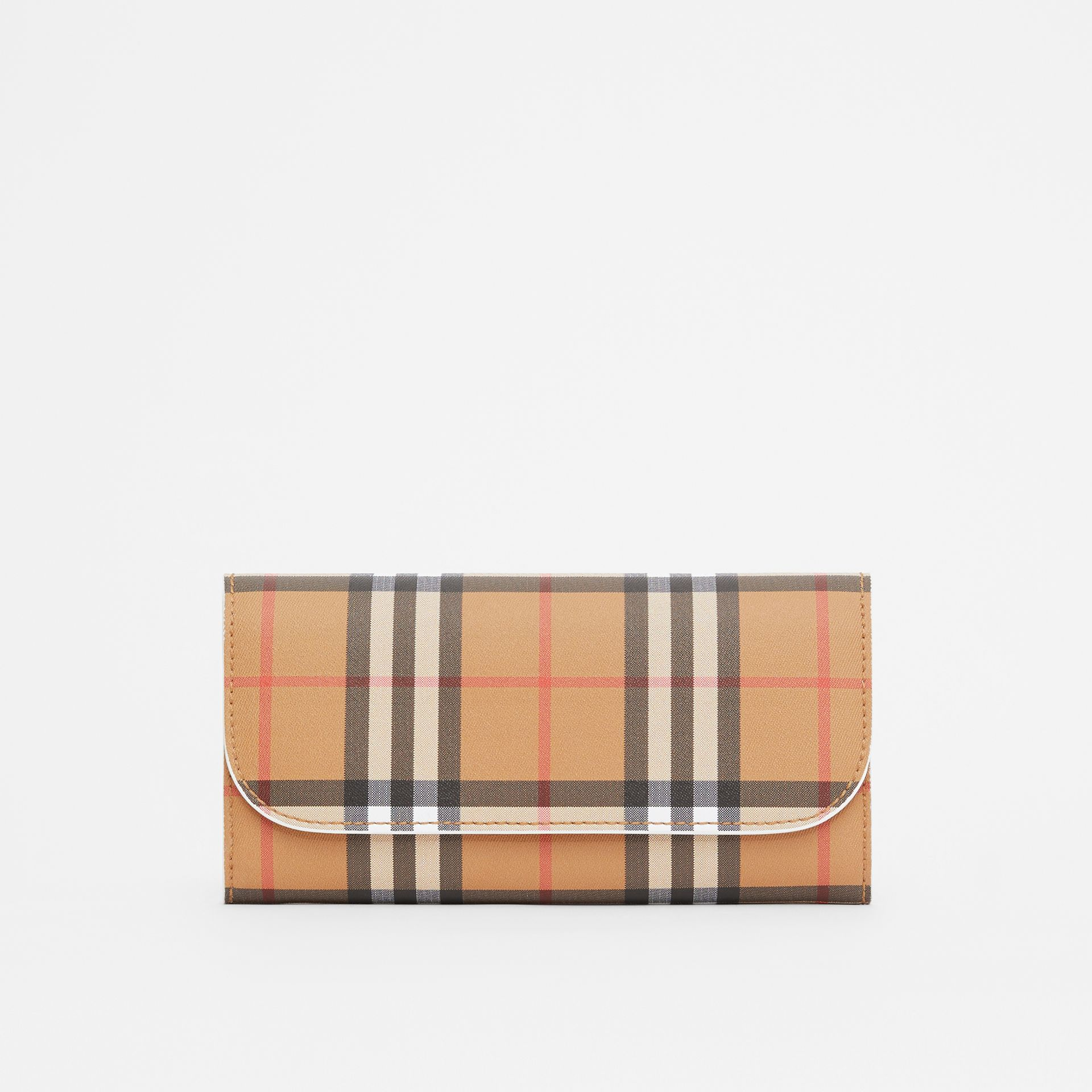 Vintage Check and Leather Continental Wallet in Chalk White - Women | Burberry Canada - gallery image 0