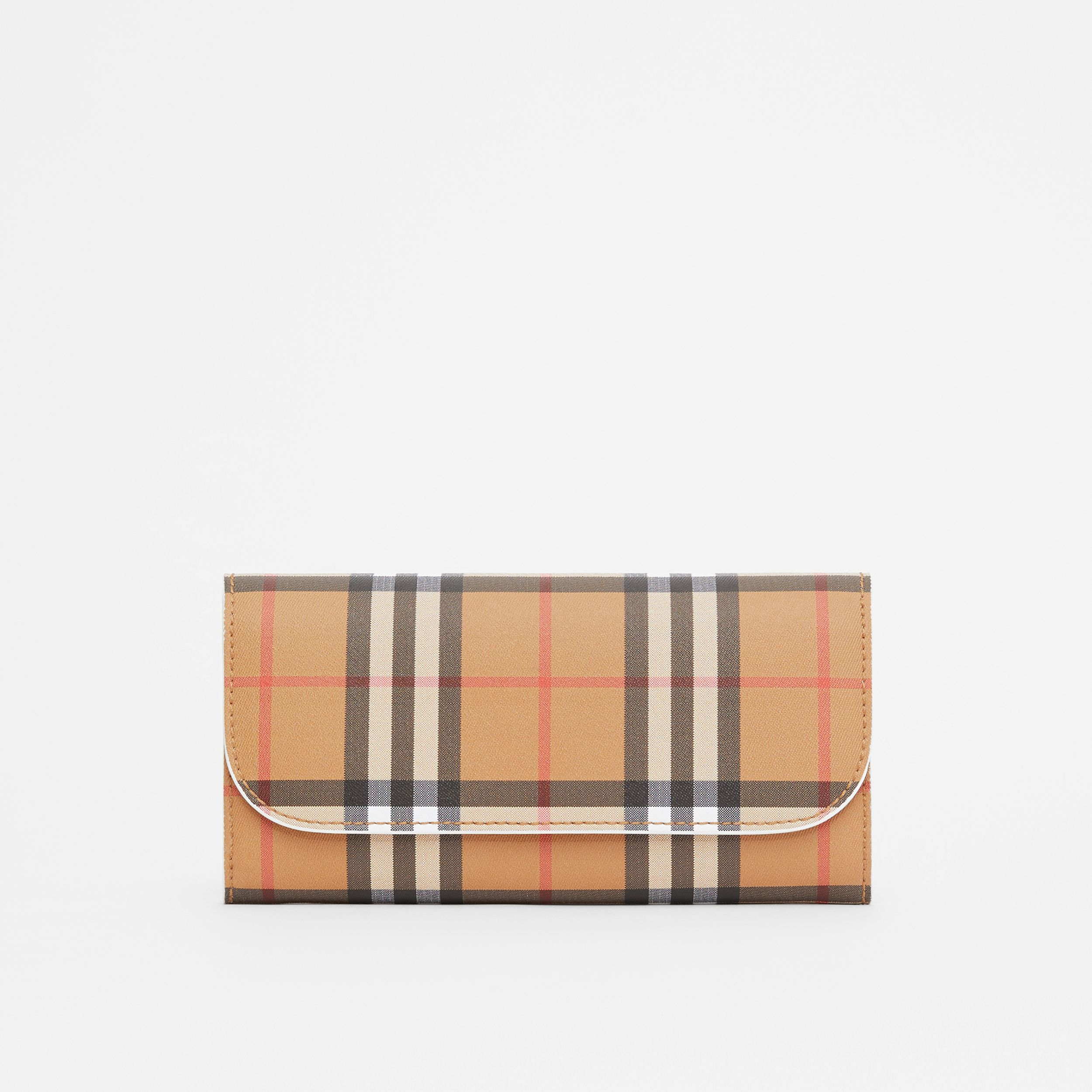 Vintage Check and Leather Continental Wallet in Chalk White - Women | Burberry - 1