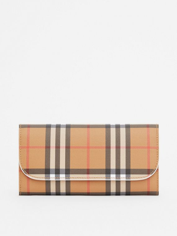 Vintage Check and Leather Continental Wallet in Chalk White