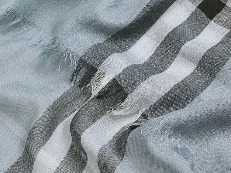 Lightweight Check Wool and Silk Scarf Dusty Blue - cell image 1