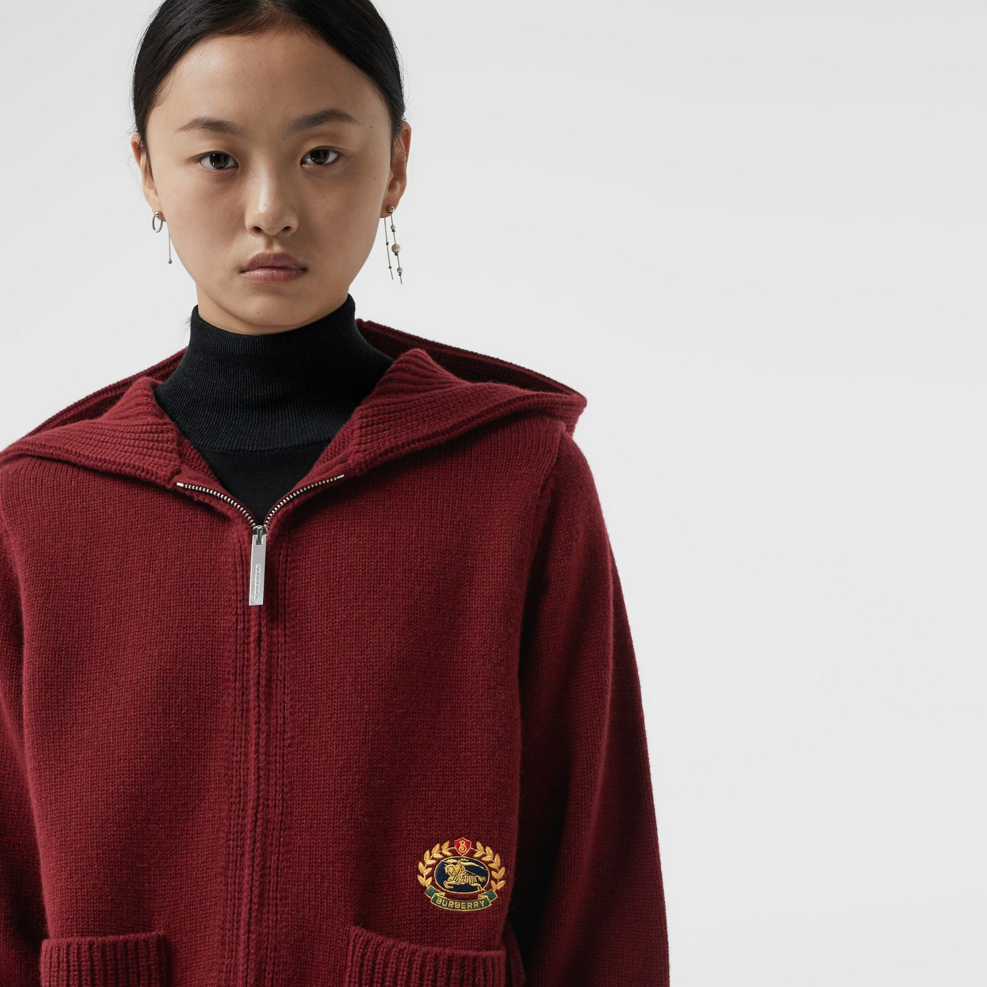 Embroidered Archive Logo Cashmere Hooded Top in Crimson - Women | Burberry - gallery image 1