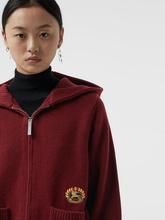 Embroidered Archive Logo Cashmere Hooded Top in Crimson - Women | Burberry - cell image 1
