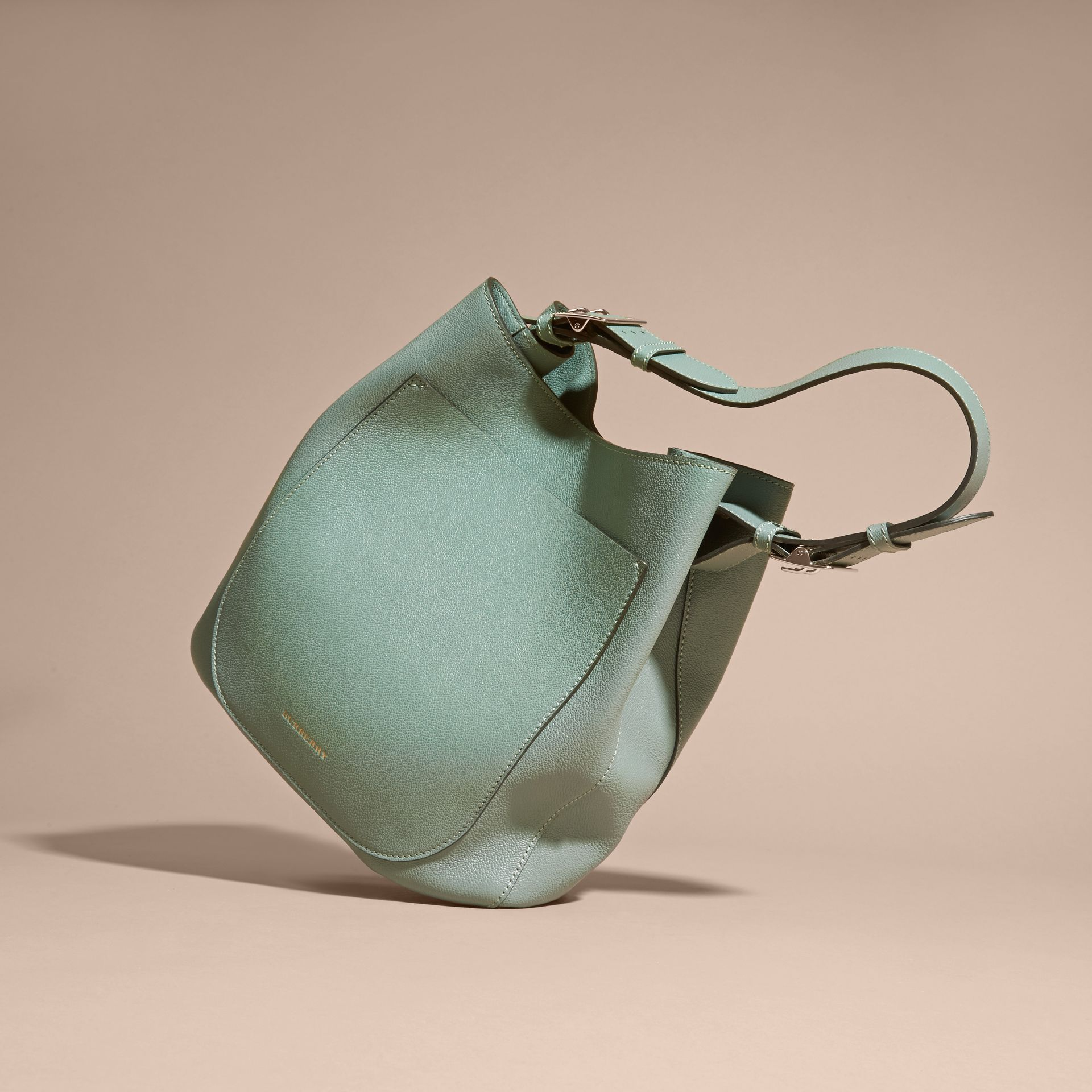 Textured Leather Shoulder Bag Eucalyptus Green - gallery image 7