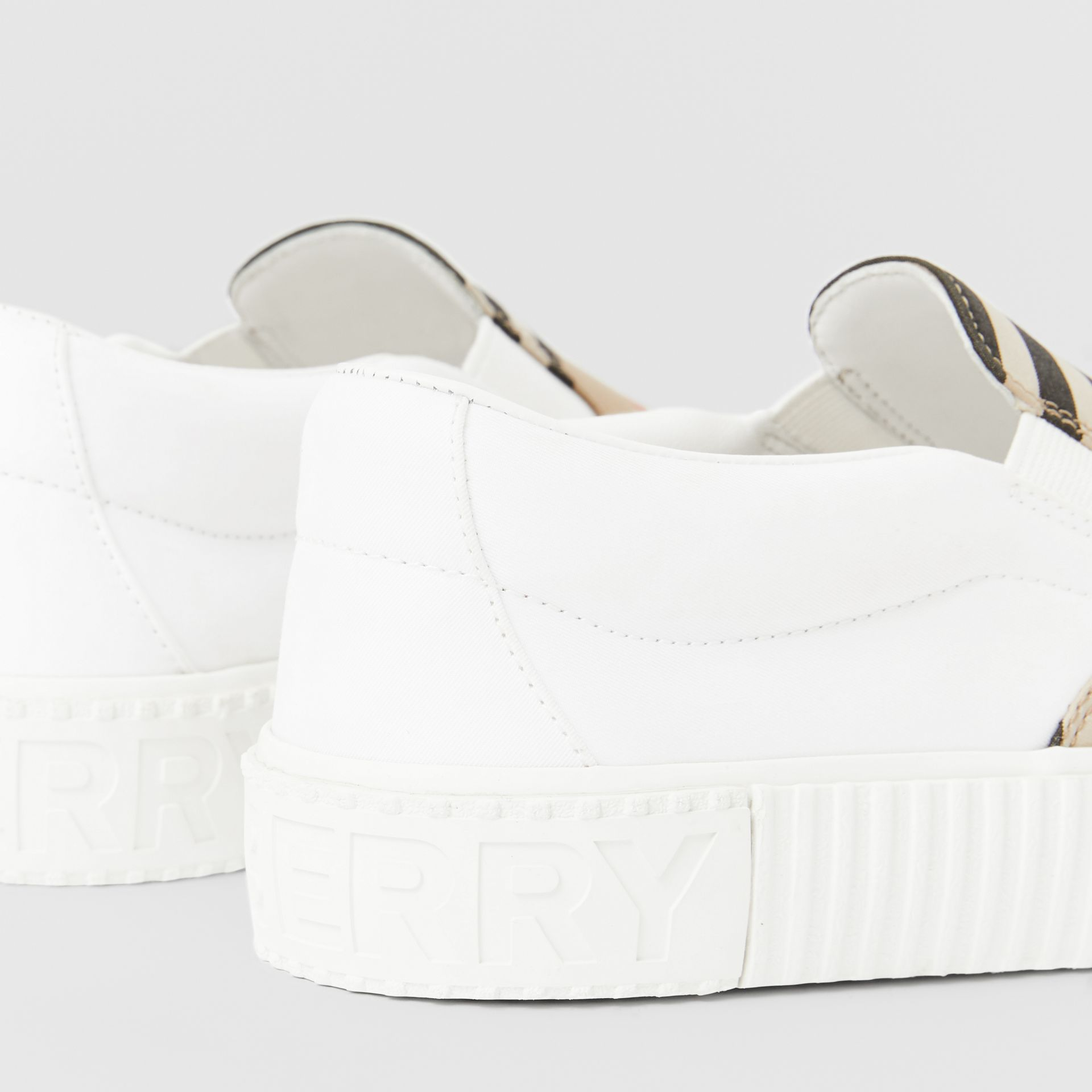 Icon Stripe Cotton Slip-on Sneakers in Archive Beige - Children | Burberry United States - gallery image 1