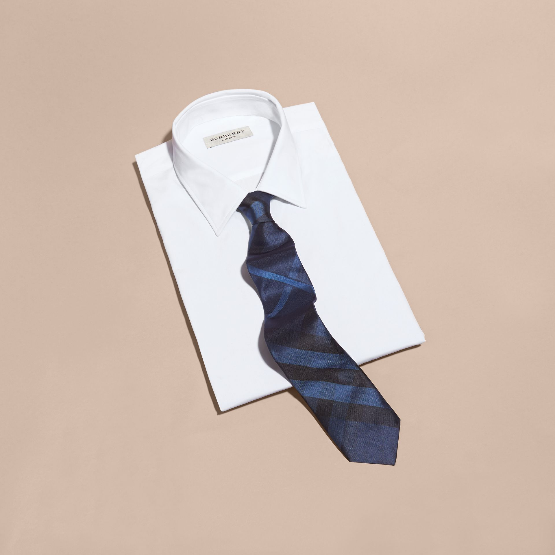 Navy Modern Cut Check Silk Tie Navy - gallery image 4