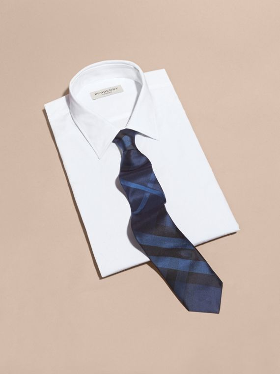 Navy Modern Cut Check Silk Tie Navy - cell image 3