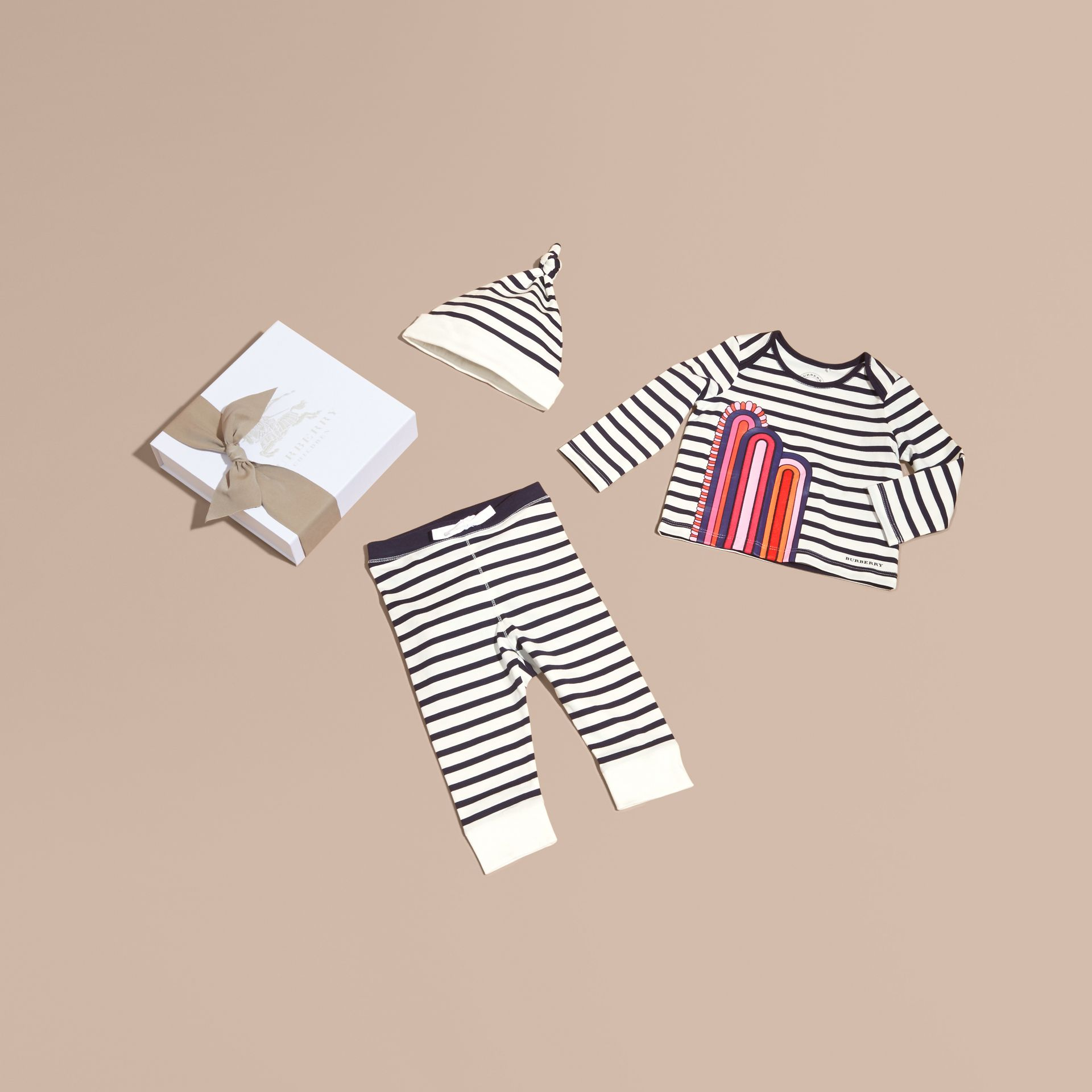 Striped Cotton Three-piece Baby Gift Set - gallery image 1