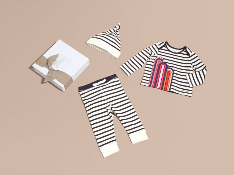 Striped Cotton Three-piece Baby Gift Set