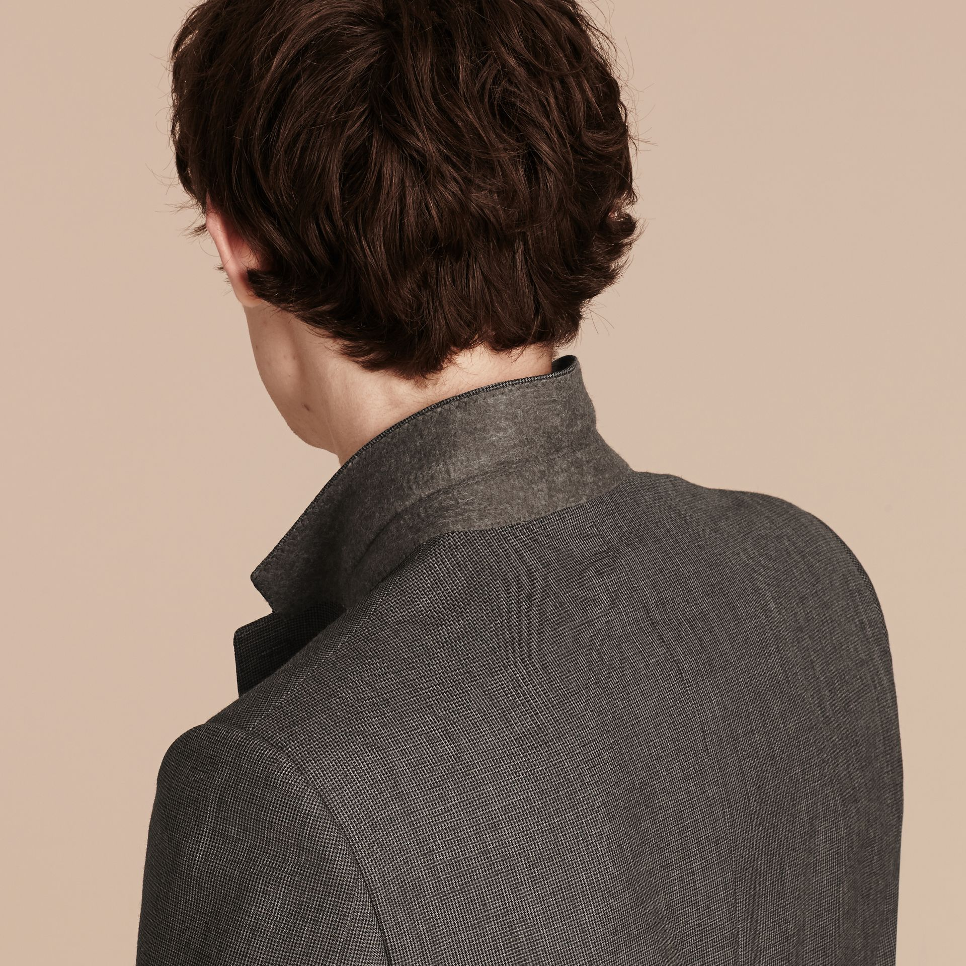 Mid grey melange Modern Fit Wool Cashmere Microcheck Part-canvas Suit - gallery image 5