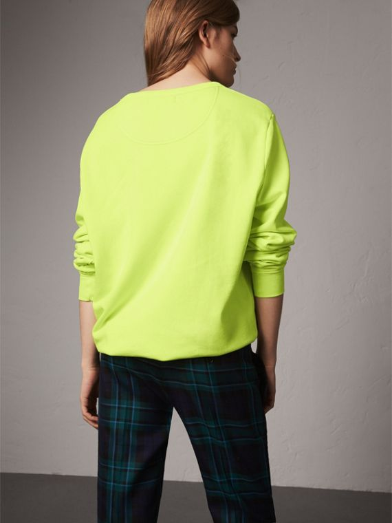 Doodle Print Cotton Sweatshirt in Bright Lemon - Women | Burberry - cell image 2