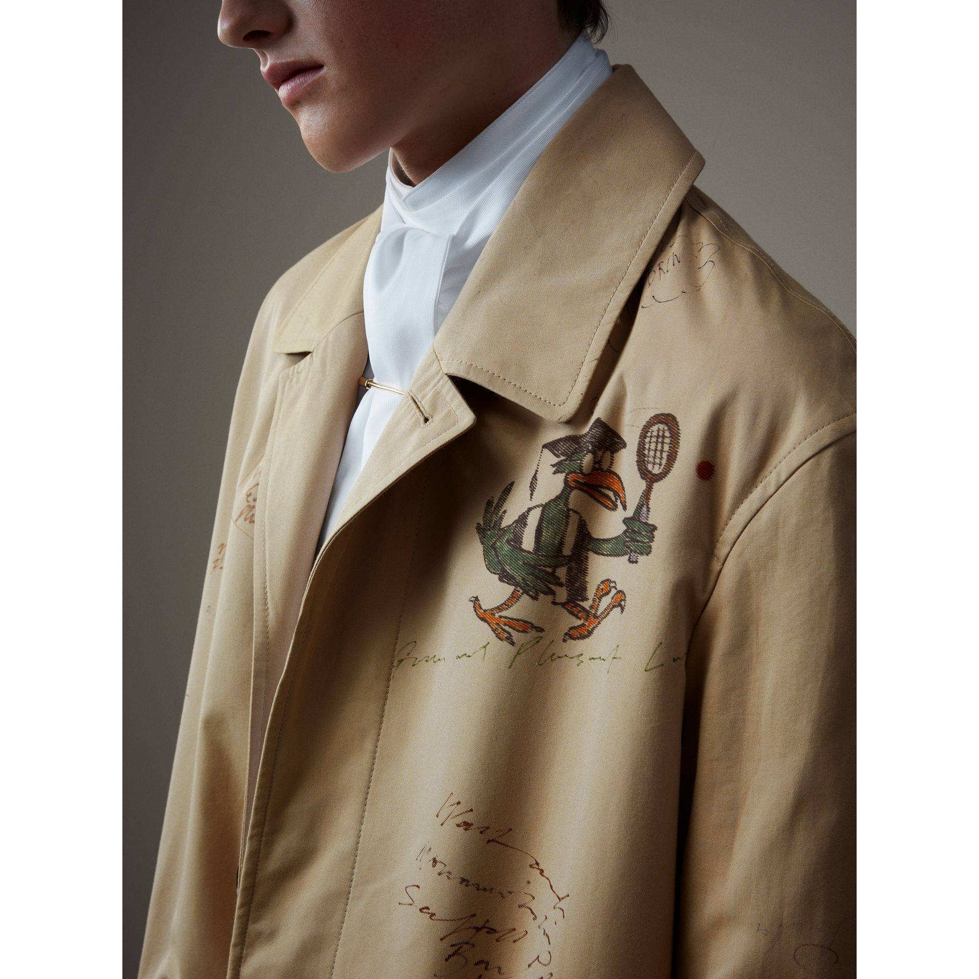 Sketch Print Tropical Gabardine Car Coat in Honey - Men | Burberry - gallery image 2