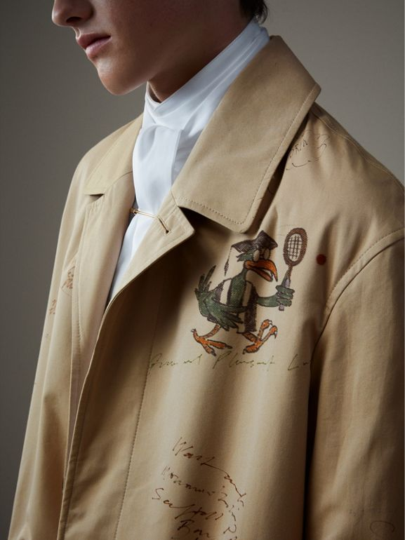 Sketch Print Tropical Gabardine Car Coat in Honey - Men | Burberry - cell image 1