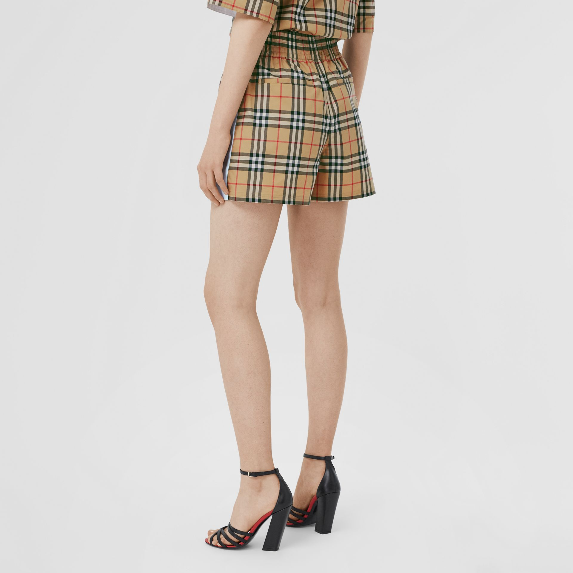 Vintage Check Stretch Cotton Shorts in Archive Beige - Women | Burberry United Kingdom - gallery image 2