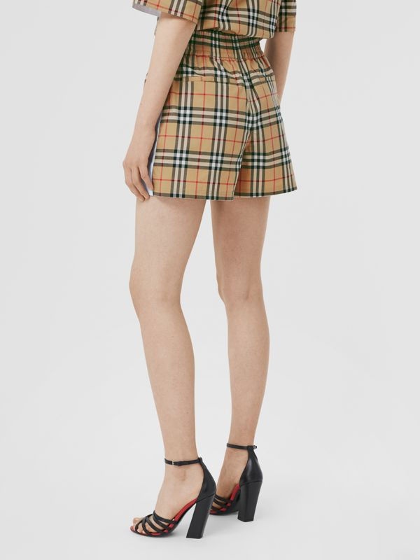 Vintage Check Stretch Cotton Shorts in Archive Beige - Women | Burberry United Kingdom - cell image 2
