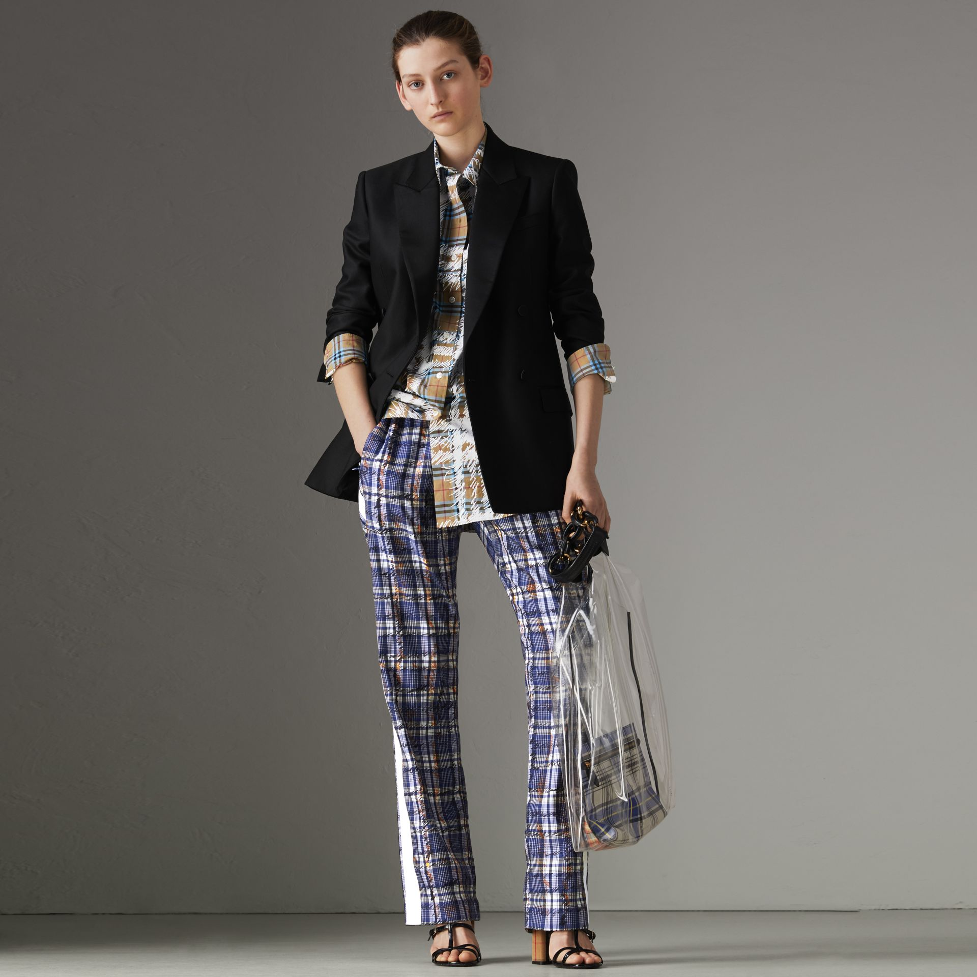 Stripe Detail Scribble Check Silk Tailored Track Pants in Navy/white - Women | Burberry - gallery image 0