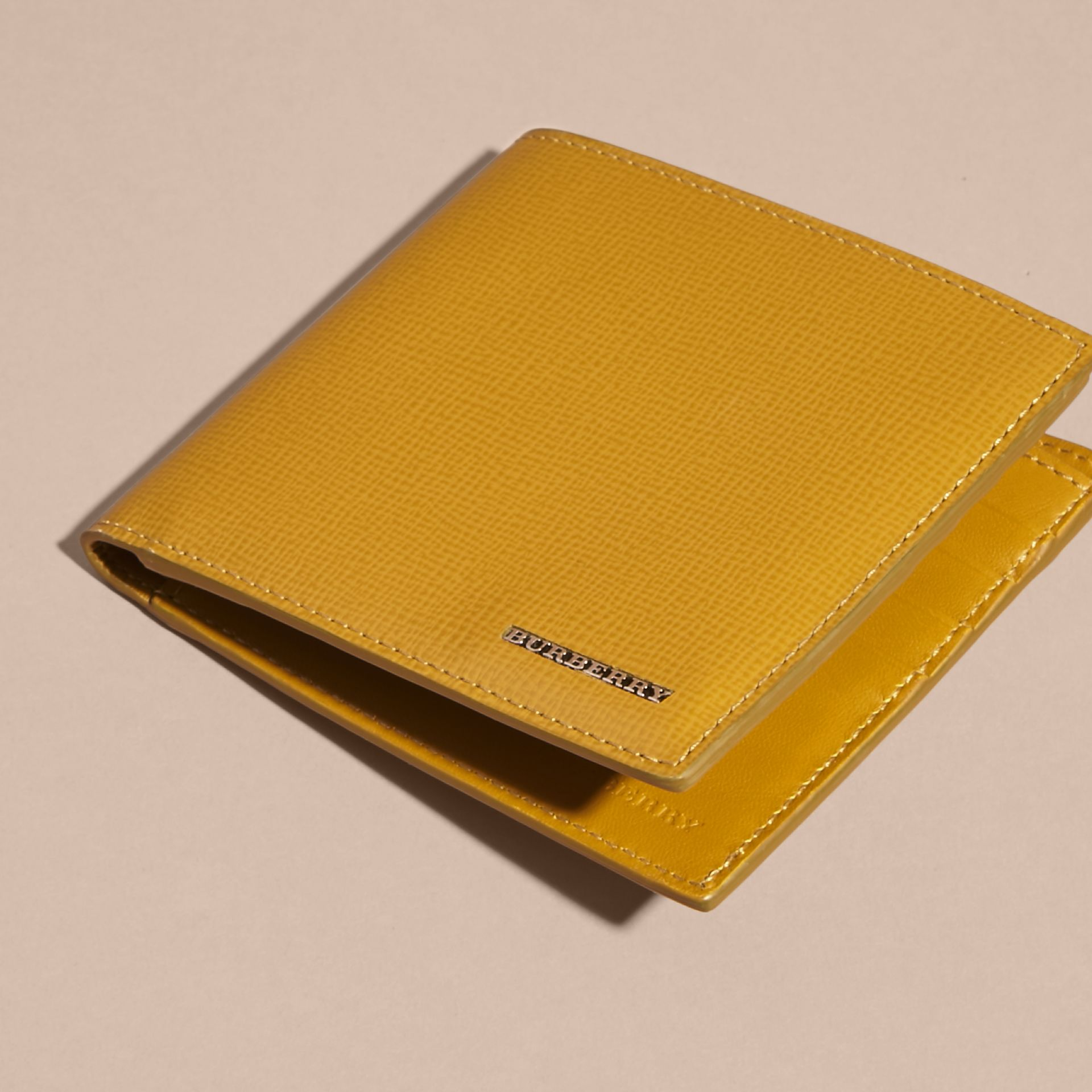 London Leather Folding Wallet Larch Yellow - gallery image 5