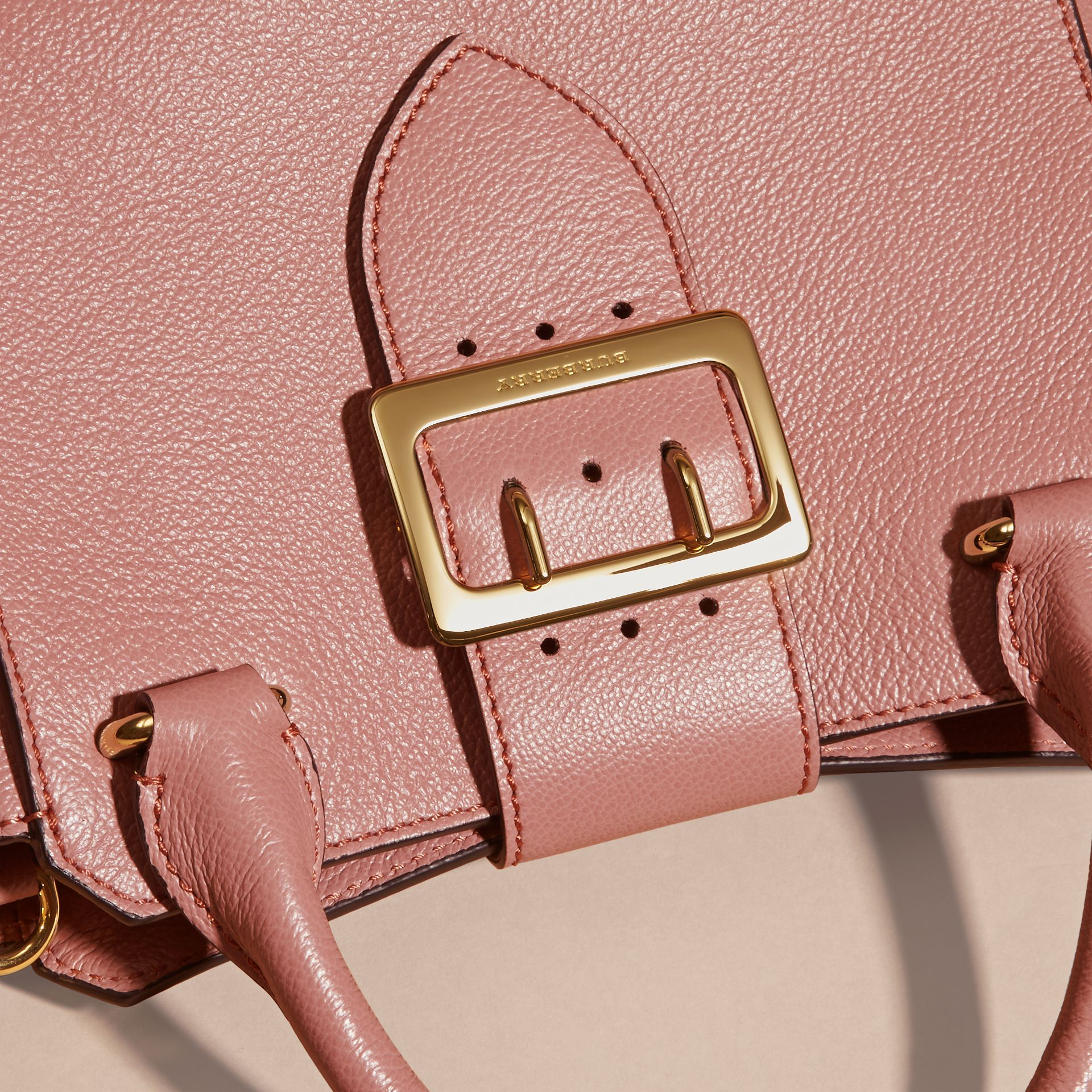 Dusty pink The Small Buckle Tote in Grainy Leather Dusty Pink - gallery image 2