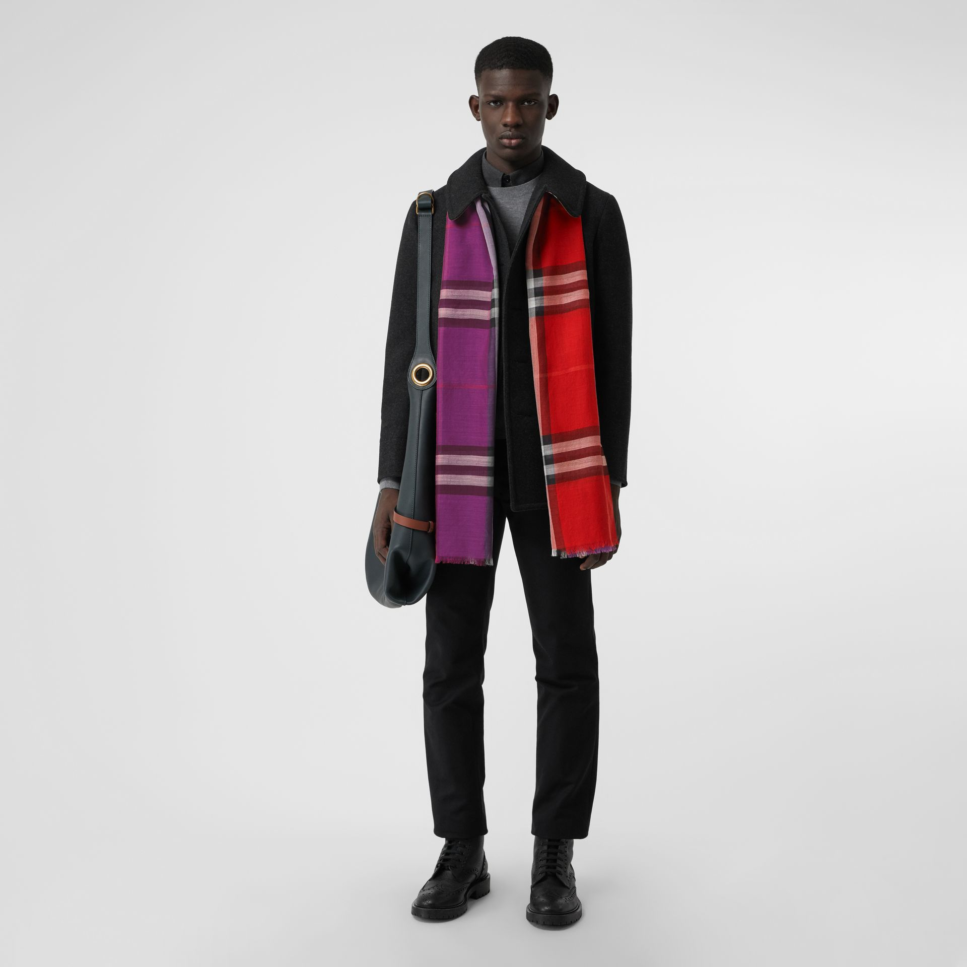 Colour Block Check Wool Silk Scarf in Bright Plum | Burberry United States - gallery image 3