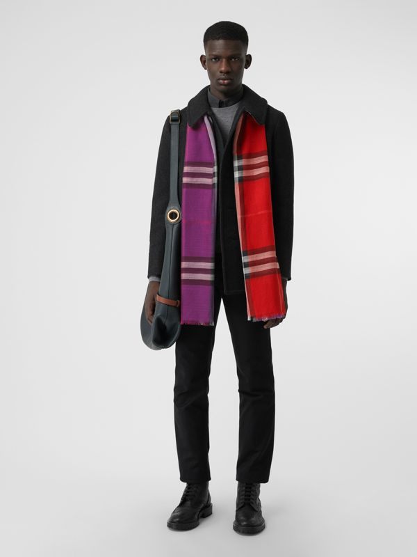 Colour Block Check Wool Silk Scarf in Bright Plum | Burberry - cell image 3