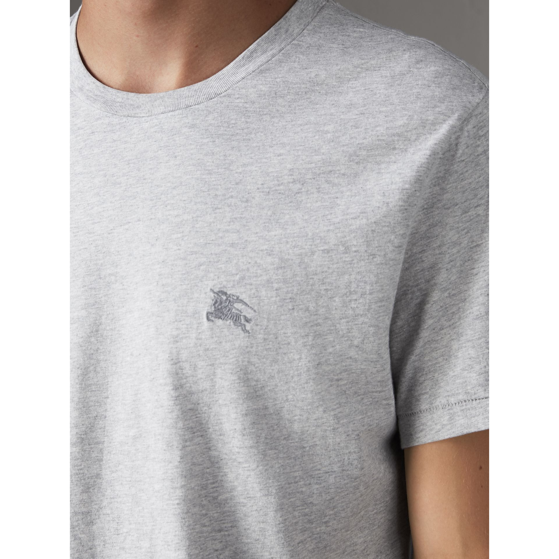 Cotton Jersey T-shirt in Pale Grey Melange - Men | Burberry - gallery image 2