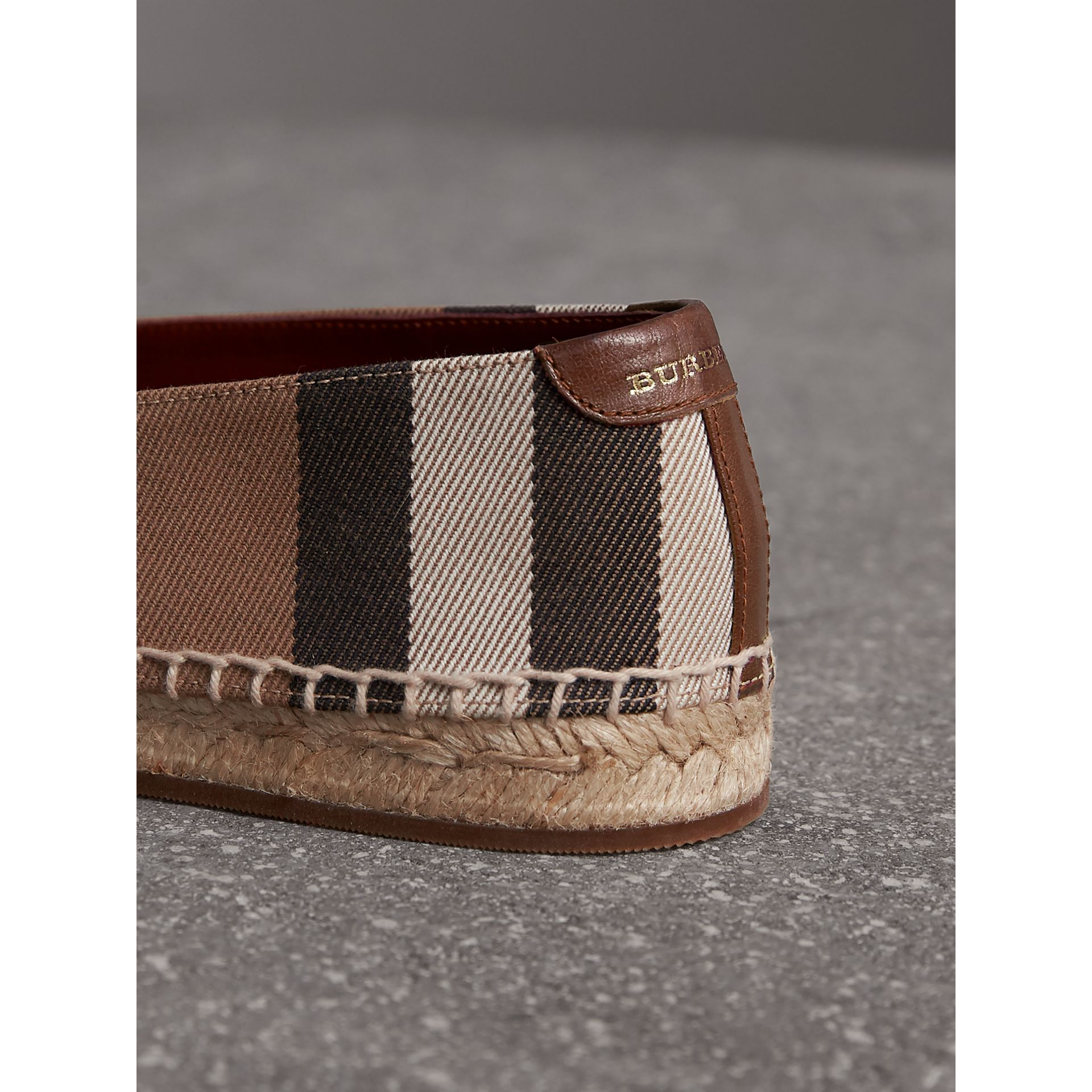 Check Linen Cotton Espadrilles in Dark Tan - Women | Burberry Canada - gallery image 1
