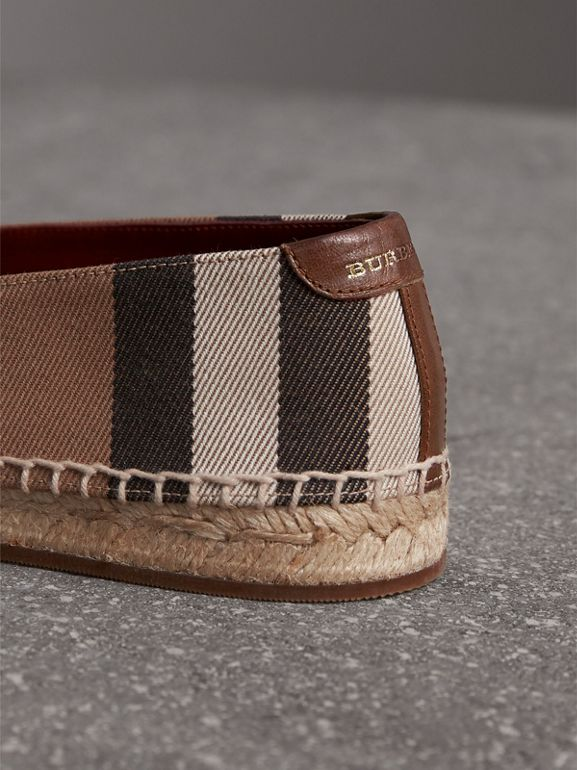 Check Linen Cotton Espadrilles in Dark Tan - Women | Burberry - cell image 1