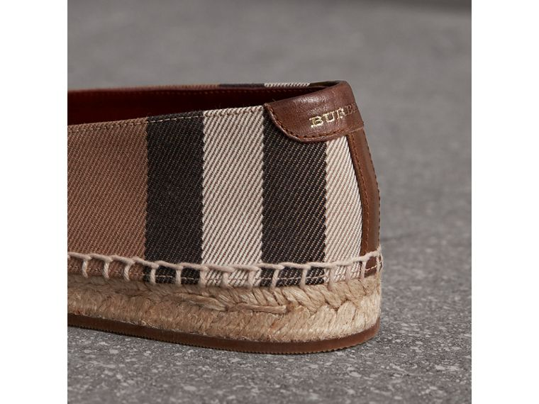 Check Linen Cotton Espadrilles in Dark Tan - Women | Burberry Singapore - cell image 1