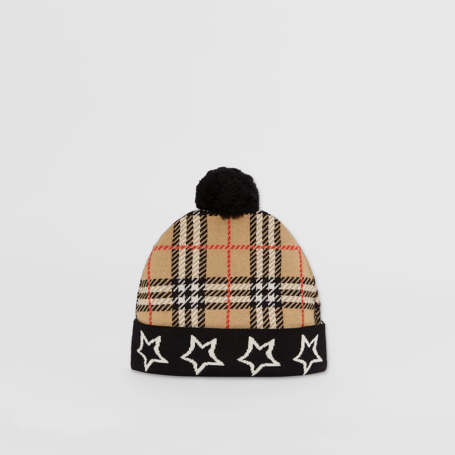 Star Detail Check Merino Wool Jacquard Beanie in Archive Beige - Children | Burberry Australia - gallery image 0